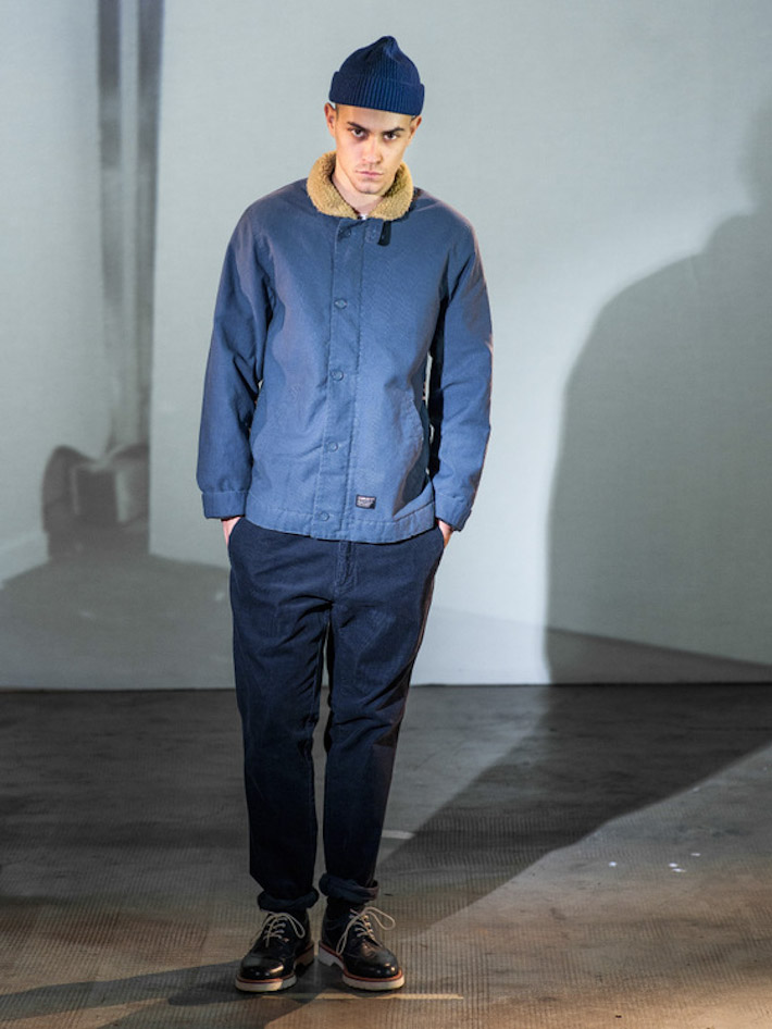 Carhart WIP pánská modrá podzimní zimní bunda, modré kalhoty