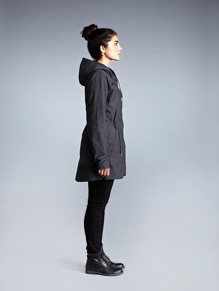 Makia dámská zimní bunda skapucí, tmavě šedá, dlouhá, parka