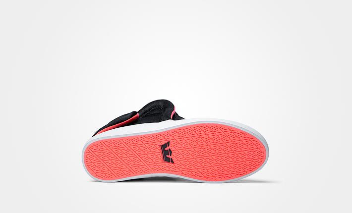 Supra Falcon Black Red Neon, černé kotníkové boty sčerveným vnitřkem, dámské apánské Sneakers