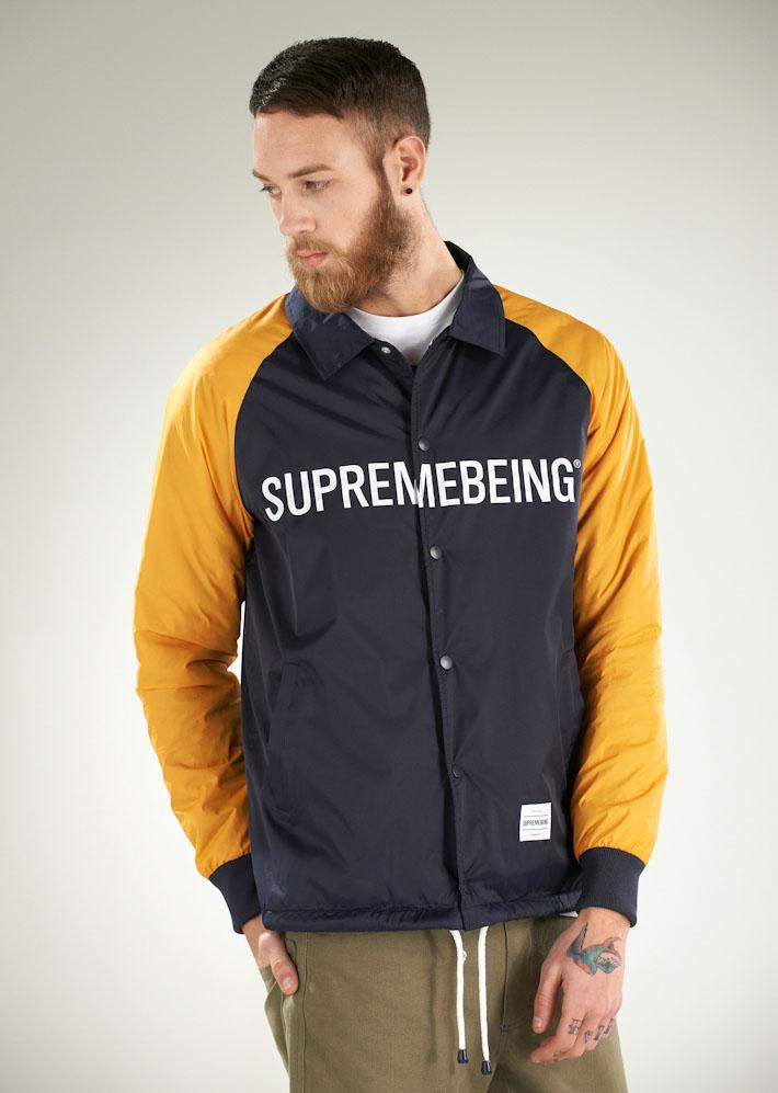 Supremebeing pánská podzímní bunda modro-žlutá