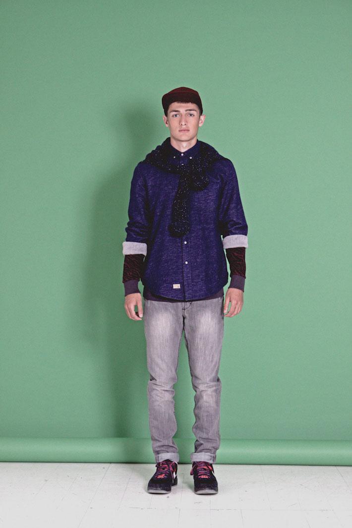 Humör modrá košile pánská, šedé jeansy