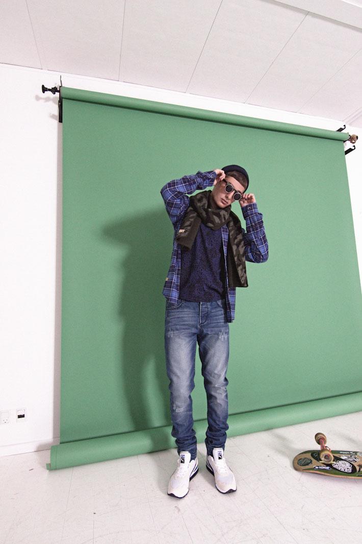 Humör pánská károvaná kočile modrá, leopardí tričko, modré jeansy