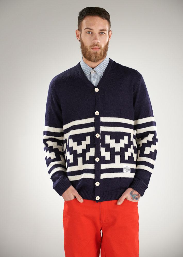 Supremebeing pánský pletený modrý svetr na knoflíky