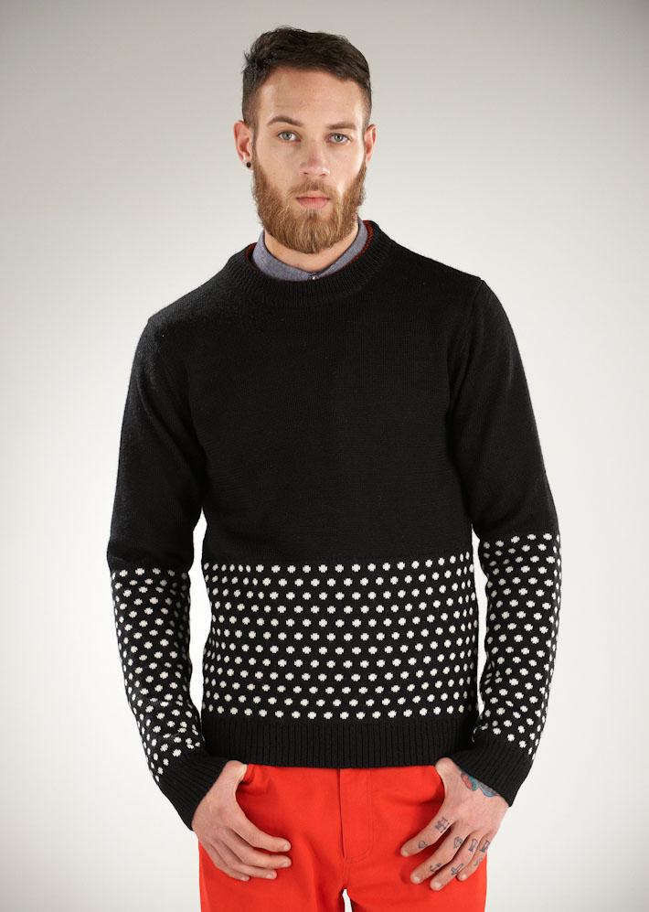Supremebeing pánský pletený svetr černý spuntíky