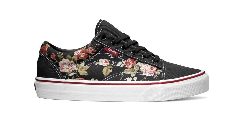 Vans-boty černé skvětinoým vzorem, růže
