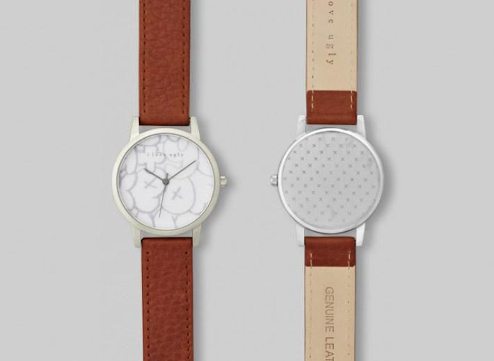 I Love Ugly kolekce Chalk analogové hodinky, nerez ocel, bílý ciferník, hnědý řemínek