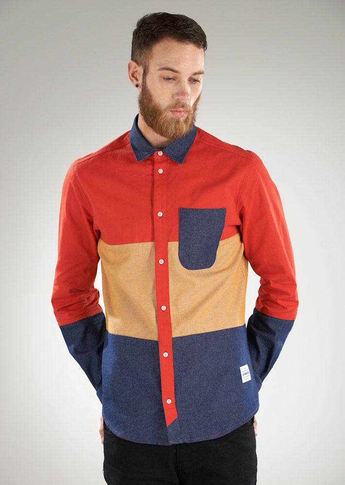 Supremebeing barevná pánská košile sdlouhým rukávem