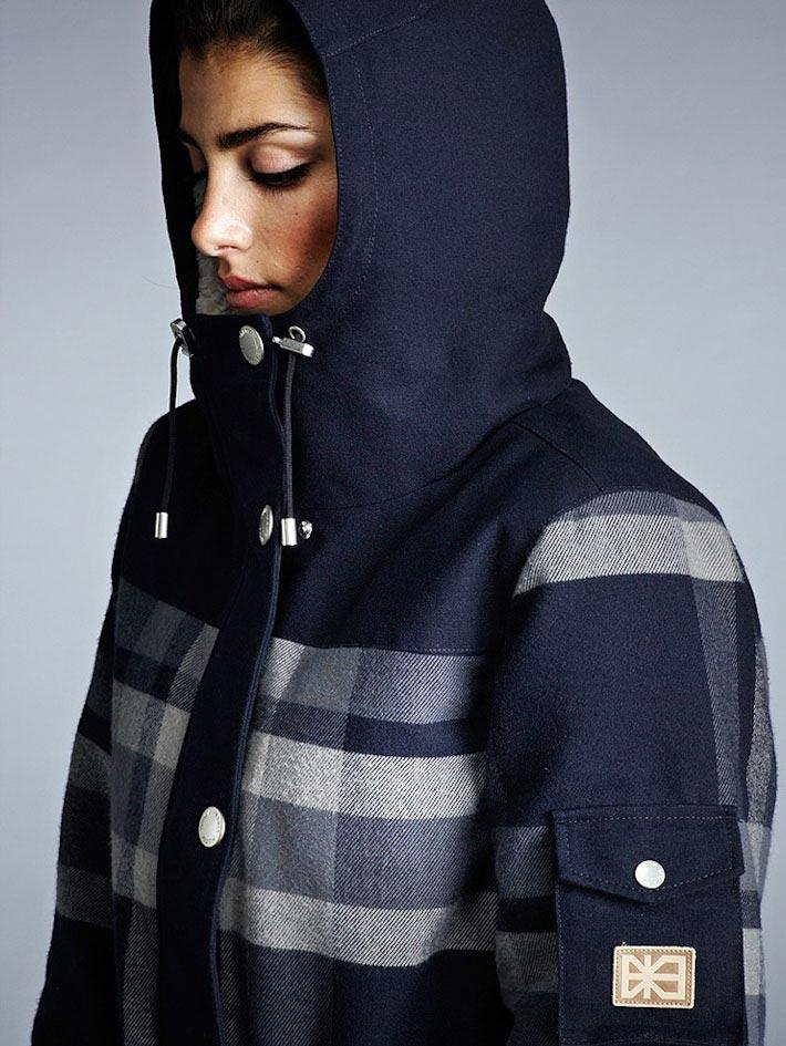 Makia dámský modrý zimní kabát skapucí