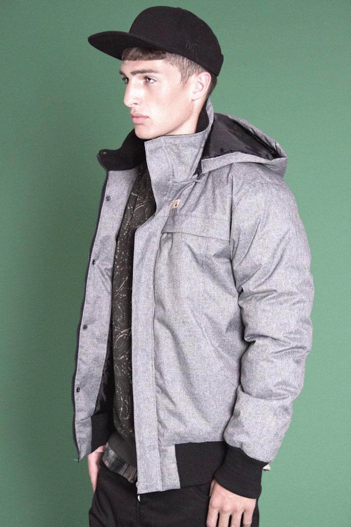 Humör šedá pánská zimní bunda skapucí do pasu
