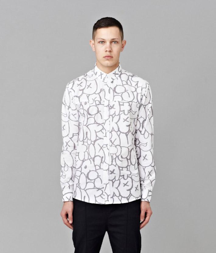 I Love Ugly kolekce Chalk pánská bílá košile spotiskem, dlouhý rukáv