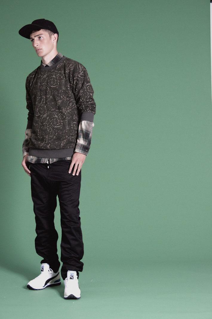 Humör pánská mikina se vzorem, černé kalhoty