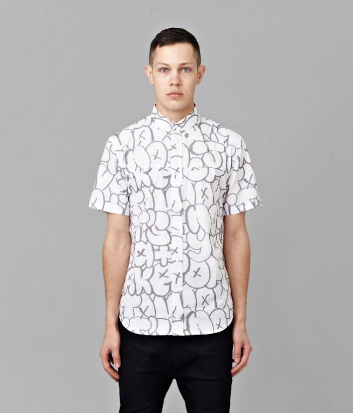 I Love Ugly kolekce Chalk pánská bílá košile spotiskem, krátký rukáv