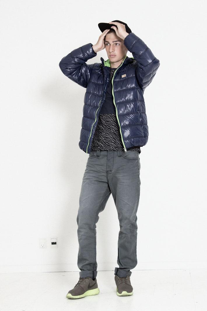 Humör modrá prošívaná zimní bunda, šedé kalhoty