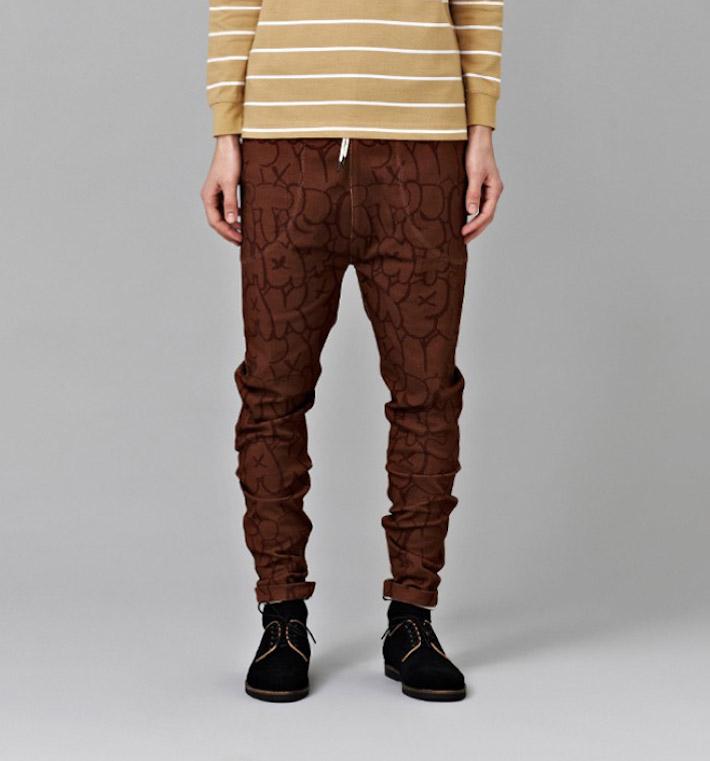 I Love Ugly kolekce Chalk pánské hnědé kalhoty spotiskem