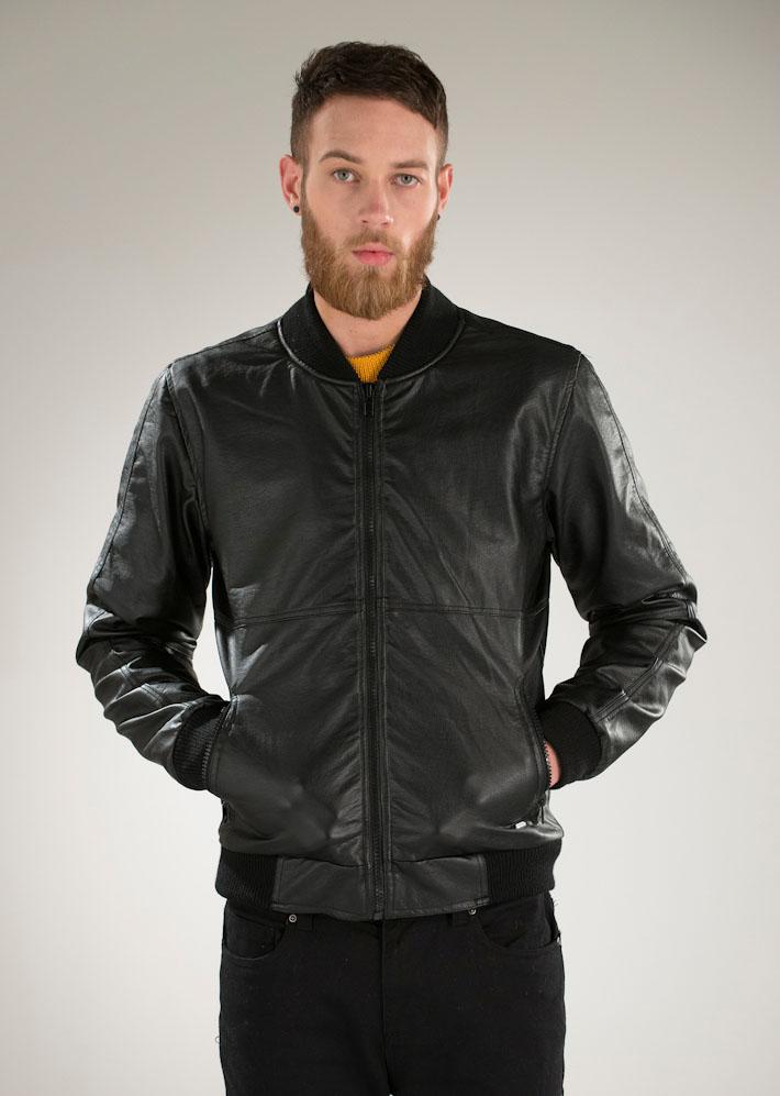 Supremebeing pánská kožená bunda do pasu černá