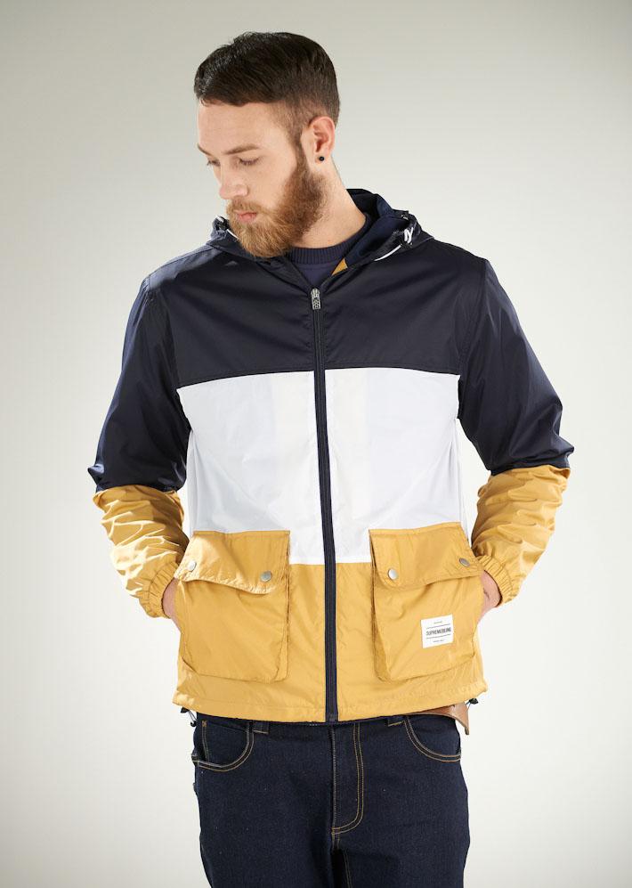 Supremebeing pánská bunda podzimní, modro-bílo-žlutá