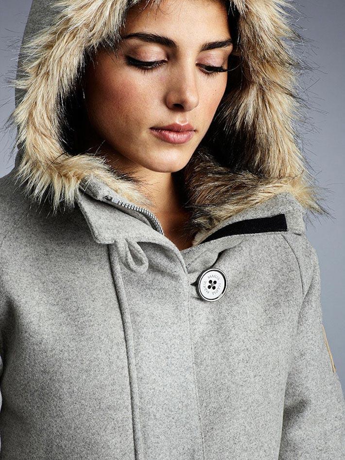 Makia dámský šedý zimní kabát skapucí askožešinou