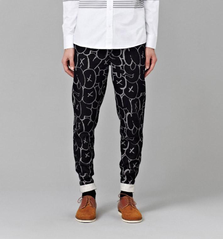 I Love Ugly kolekce Chalk pánské černé kalhoty spotiskem