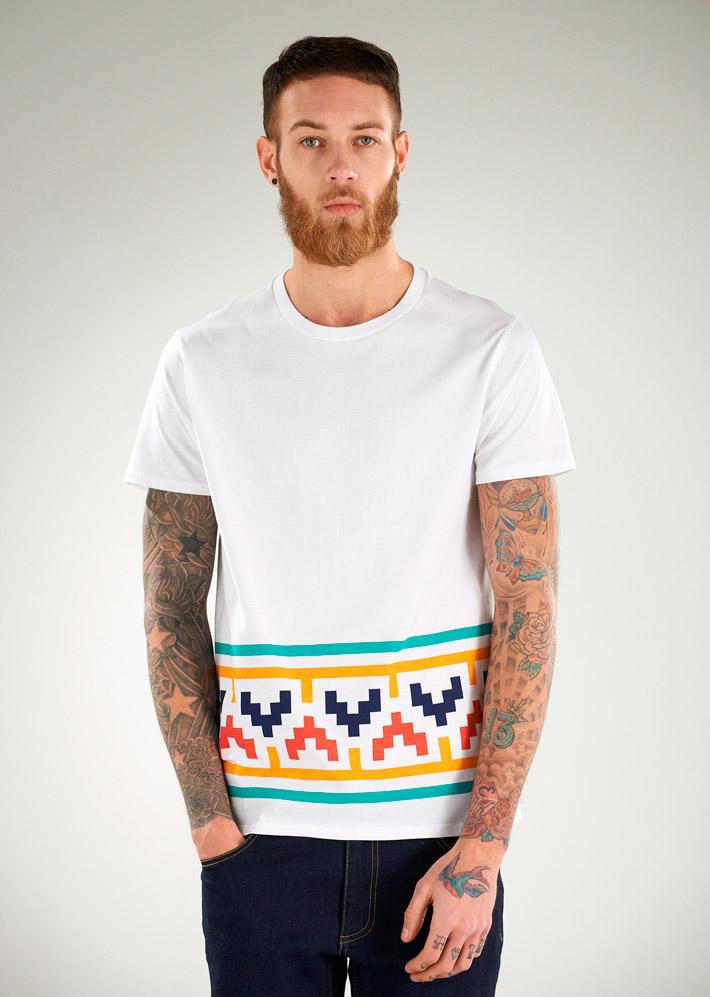 Supremebeing pánské bílé tričko sbarevným motivem