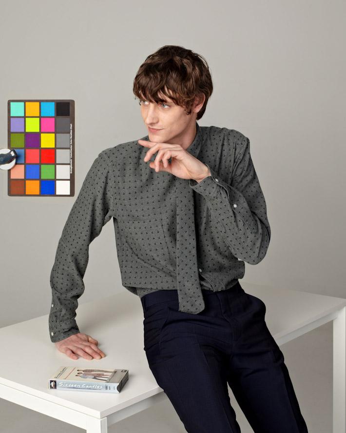 Sidian, Ersatz and Vanes pánská luxusní šedá košile se vzorem, kravata se vzorem