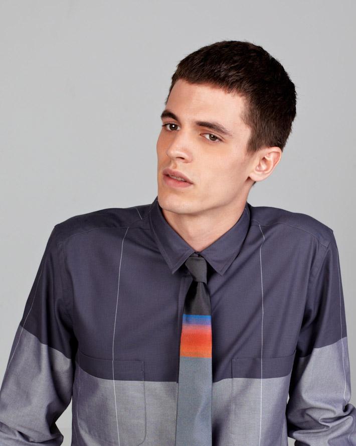 Sidian, Ersatz and Vanes pánská luxusní šedo modrá košile, kravata sbarevným vzorem