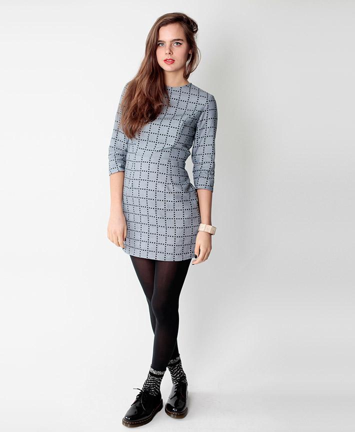 Dusen Dusen dámské šedé šaty, geometrický vzor