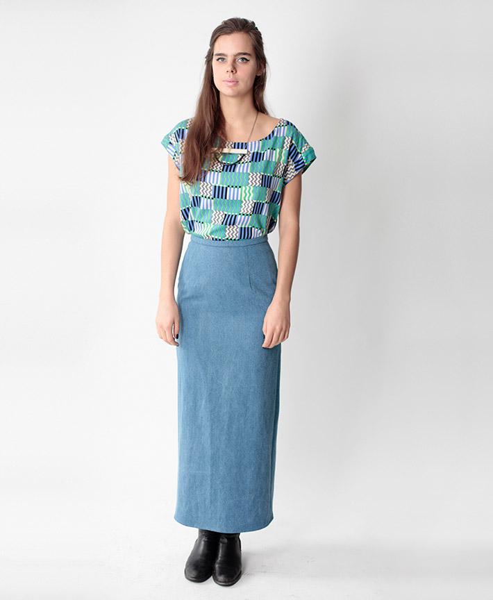 Dusen Dusen dámská halenka, geometrický vzor, modrá dlouhá sukně