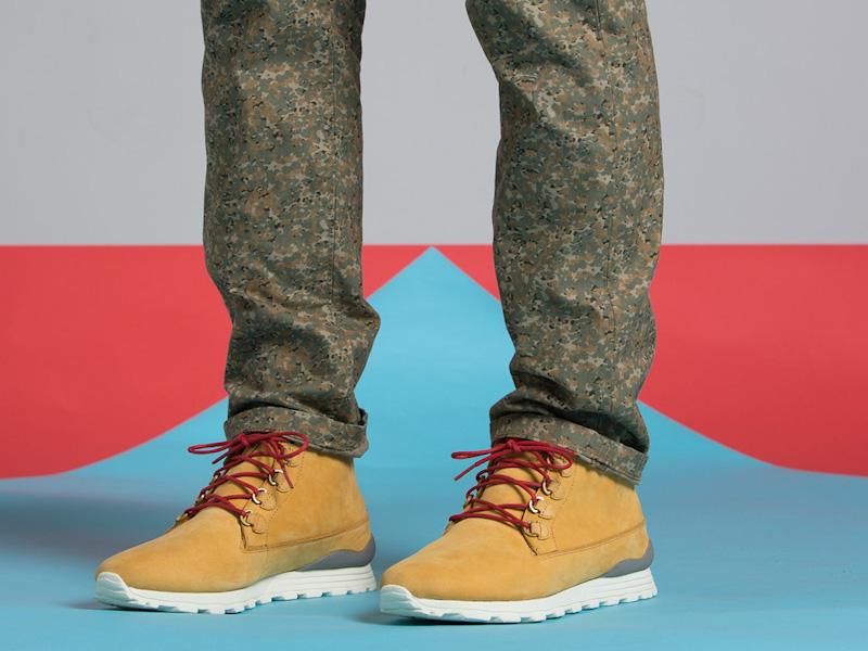 Clae – kotníkové boty pánské, semišové, žluto hnědé