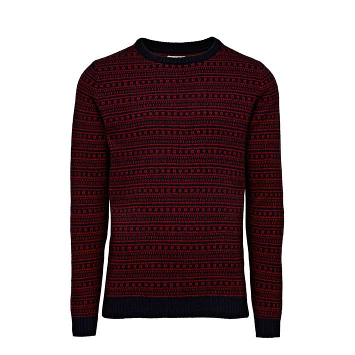 Jack & Jones luxusní pánský pletený svetr pánský, červený se vzorem