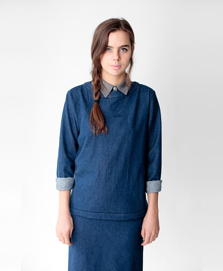 Dusen Dusen dámská modrá halenka, sukně