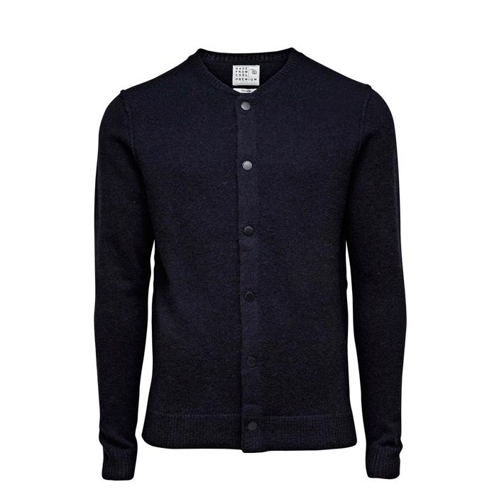 Jack & Jones luxusní pletený pánský svetr se zapínáním pánský, tmavě modrý