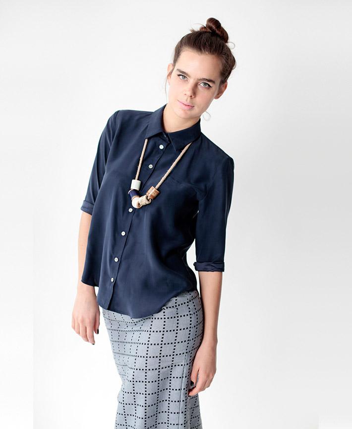Dusen Dusen dámská modrá košile, šedá sukně