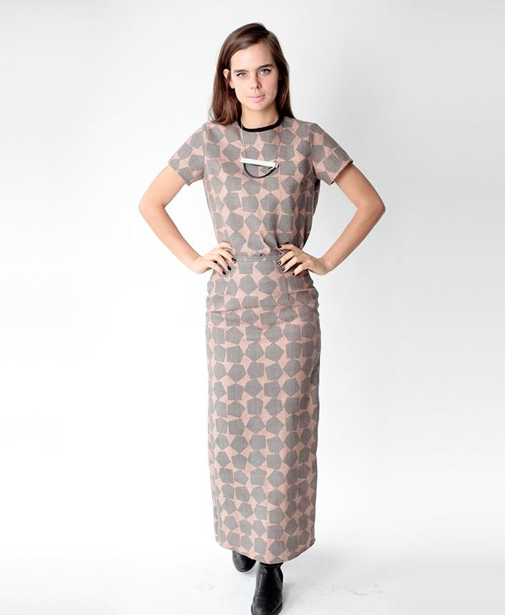 Dusen Dusen dámské dlouhé šaty, geometrický vzor
