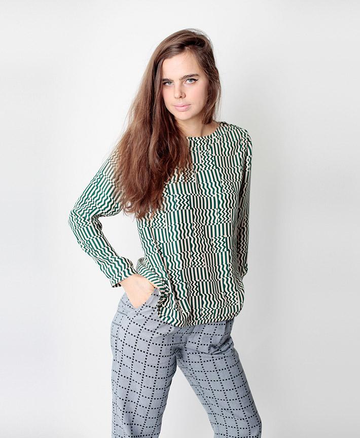 Dusen Dusen dámská halenka, dlouhý rukáv, kalhoty, geometrický vzor