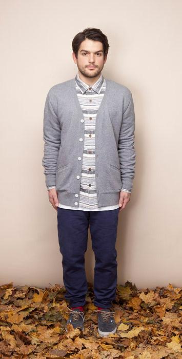 Ucon Acrobatics pánská šedá melírová košile sdlouhým rukávem, černé kalhoty