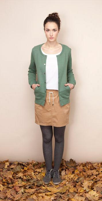 Ucon Acrobatics písková sukně, zelený svetřík dámský
