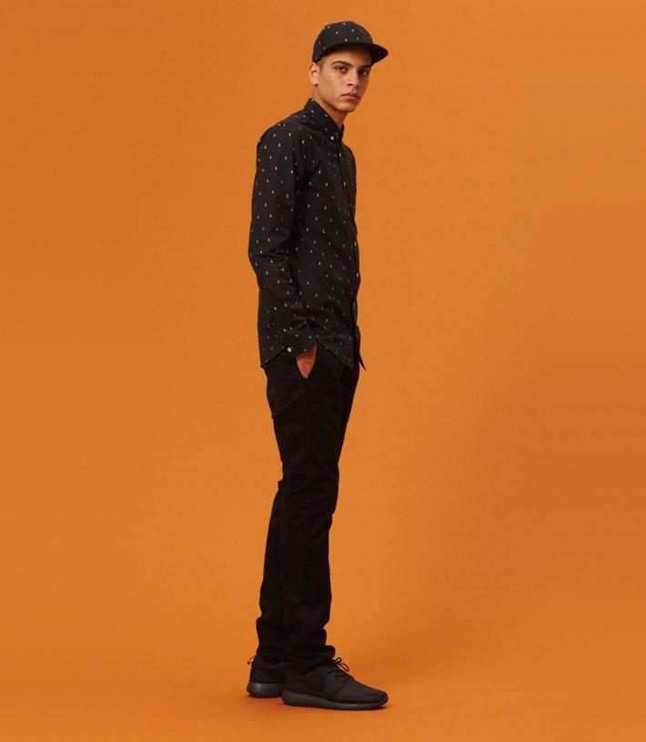 Libertine Libertine pánská černá košile dekorem, černé kalhoty