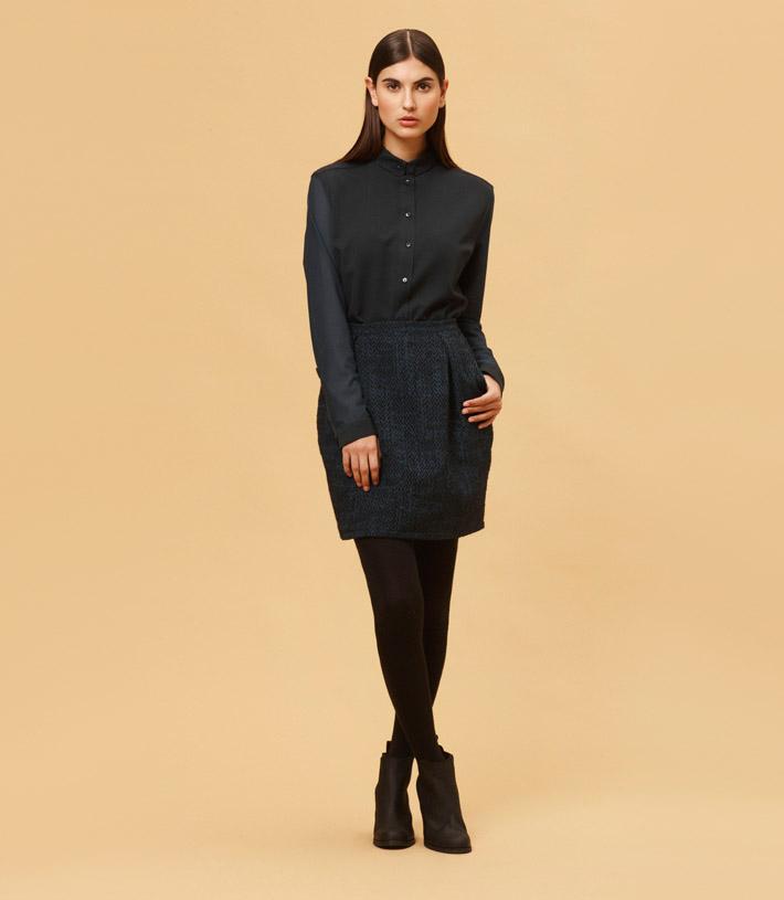 Libertine Libertine temně modrá teplá sukně, černá dámská košile
