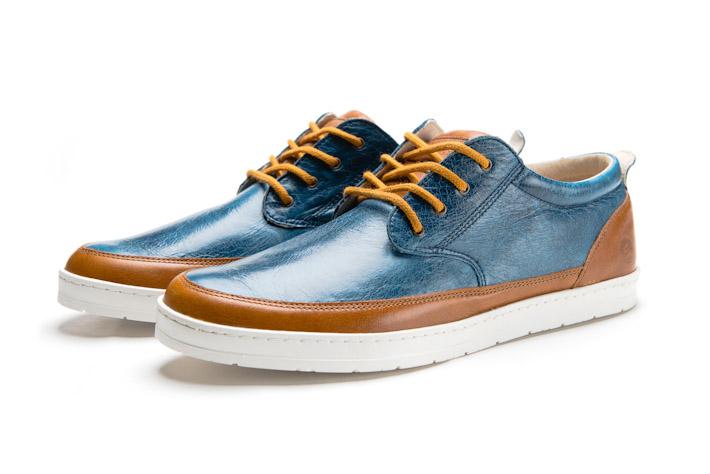 Splendix Shoes pánské nízké boty zkůže, modro-hnědé, tenisky