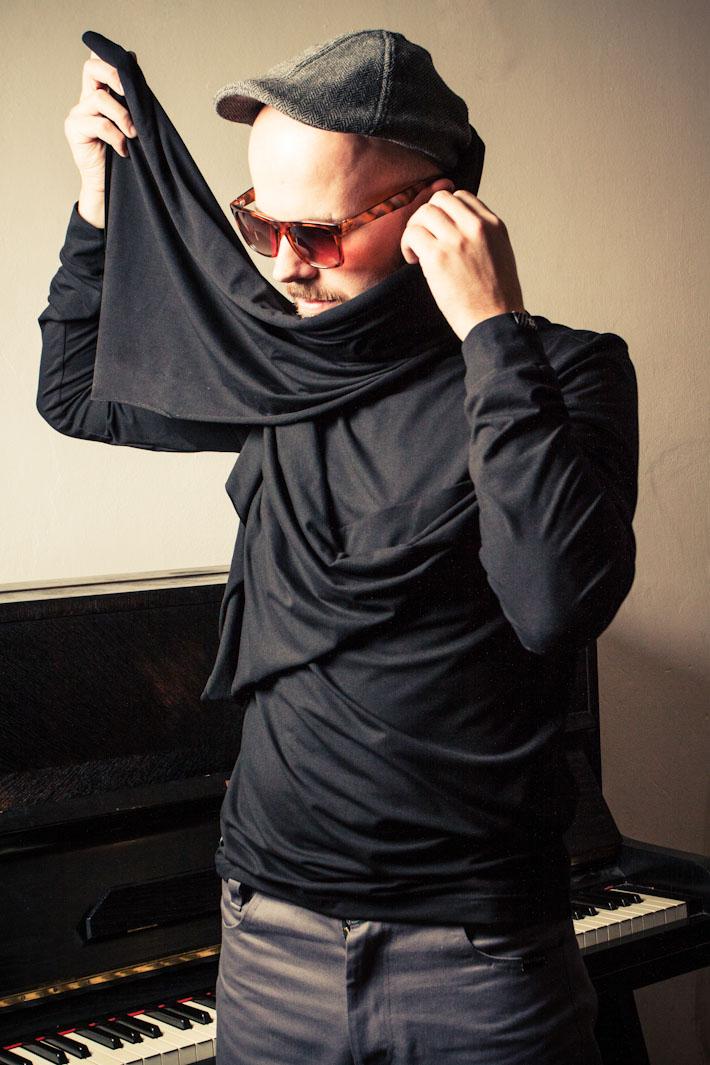 Pattern pánské tričko, dlouhý rukáv, černé