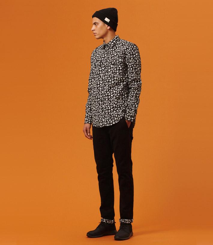 Libertine Libertine pánská černá košile sbílým patternem, černé kalhoty
