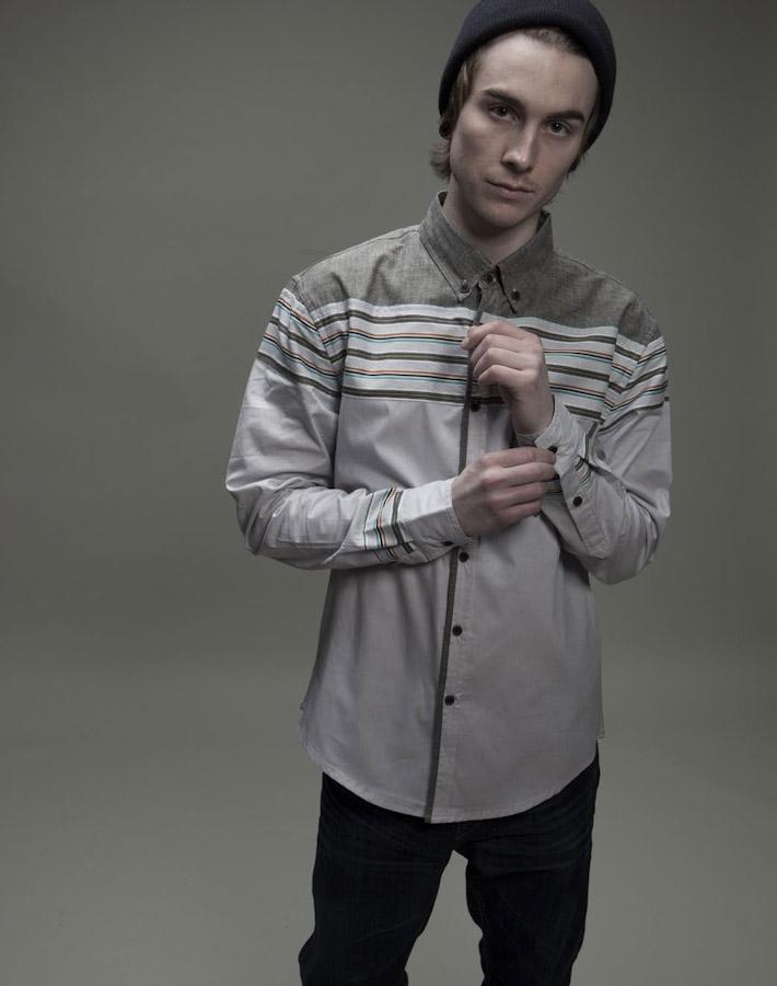 Volklore pánská šedá košile spruhy