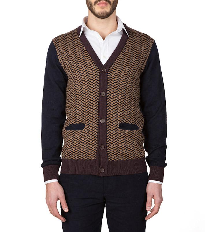 Commune de Paris pánský hnědý pletený svetr sknoflíky