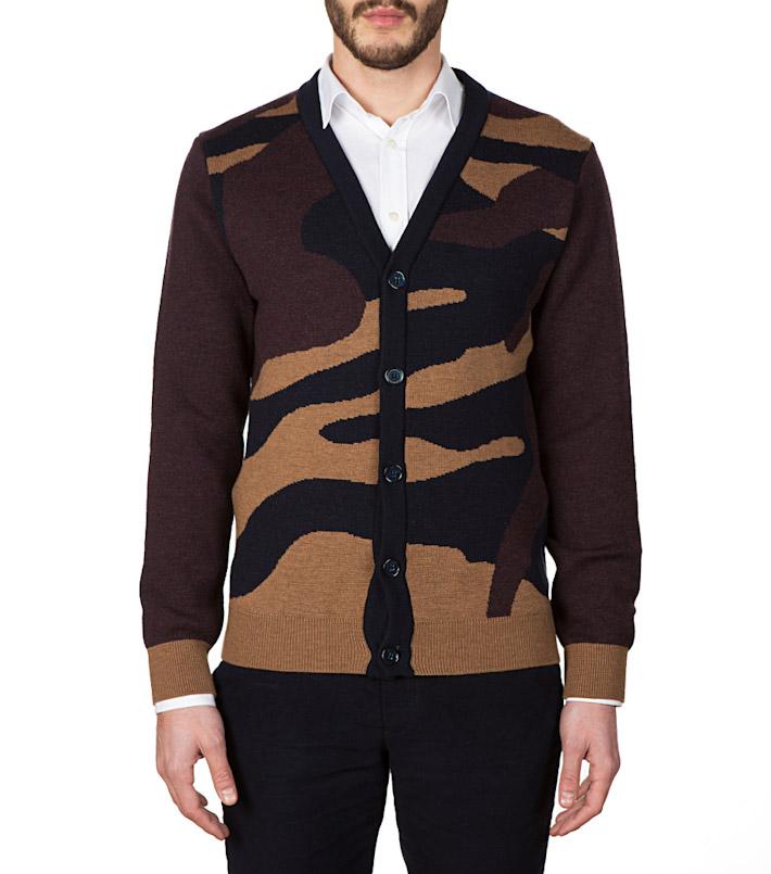 Commune de Paris pánský hnědý pletený svetr se vzorem aknoflíky