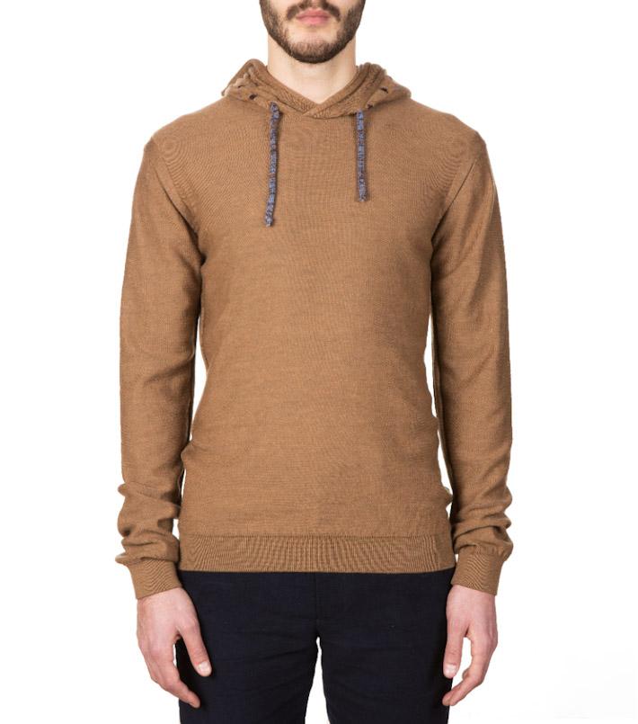 Commune de Paris pánský hnědý pletený svetr skapucí