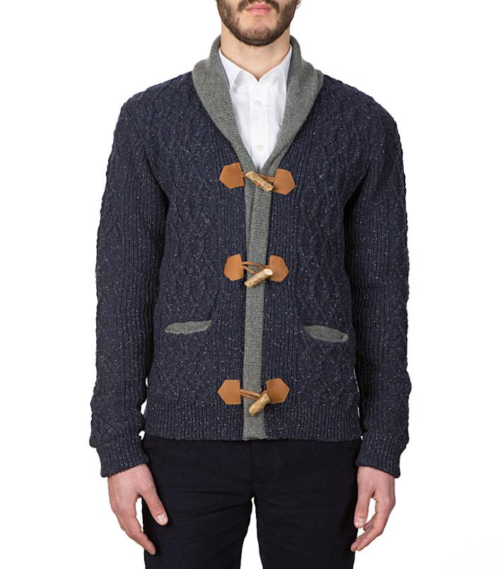 Commune de Paris pletený svetr pánský, modrý, sknoflíky