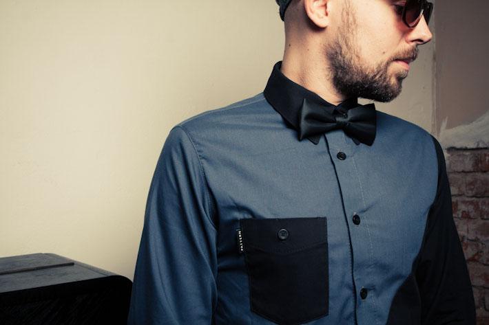 Pattern pánská košile, modro-černá, dlouhý rukáv