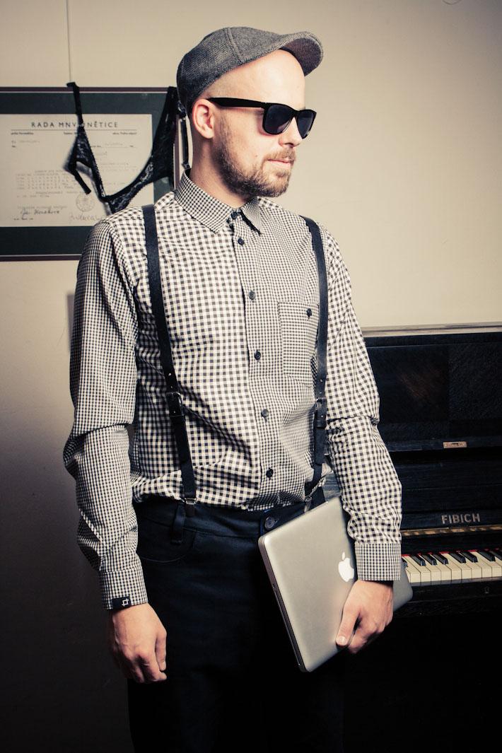 Pattern pánská kostkovaná košile, šedá, dlouhý rukáv