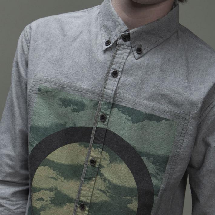 Volklore šedá pánská košile spotiskem