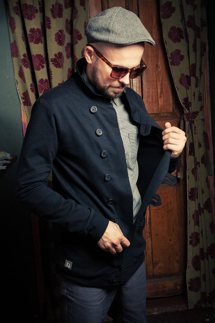 Pattern pánský modrý kabát